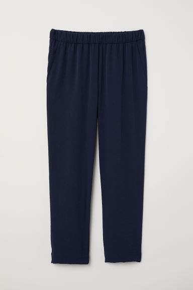 Crêpe trousers - Dark blue - Ladies | H&M CN
