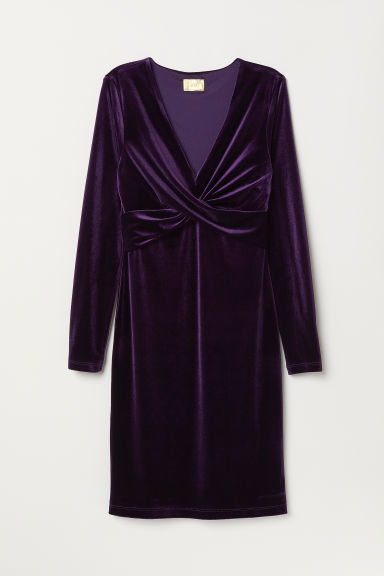 Draped dress - Purple - Ladies | H&M CN