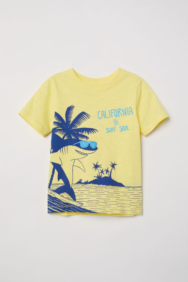 Printed T-shirt - Yellow/Shark - Kids | H&M