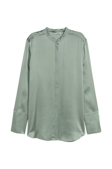 Silk blouse - Khaki green - Ladies | H&M
