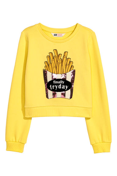 Printed sweatshirt - Yellow/Finally fryday - Kids | H&M