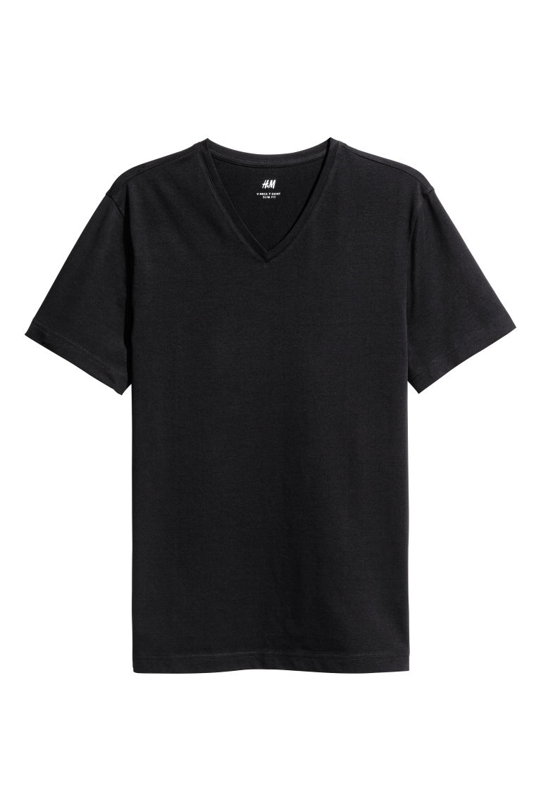 V-neck T-shirt Slim fit - Black - Men | H&M IE