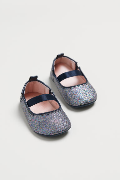 Glittery ballet pumps - Dark blue/Glittery - Kids | H&M