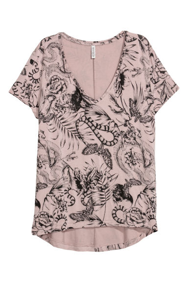 V-neck jersey top - Mole/Patterned - Ladies | H&M GB