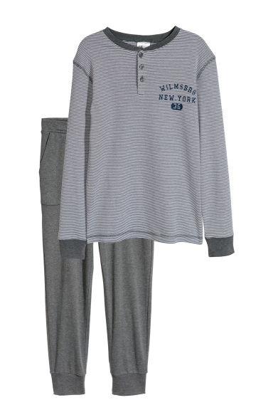 Jersey pyjamas - Dark grey/White striped - Kids | H&M CN