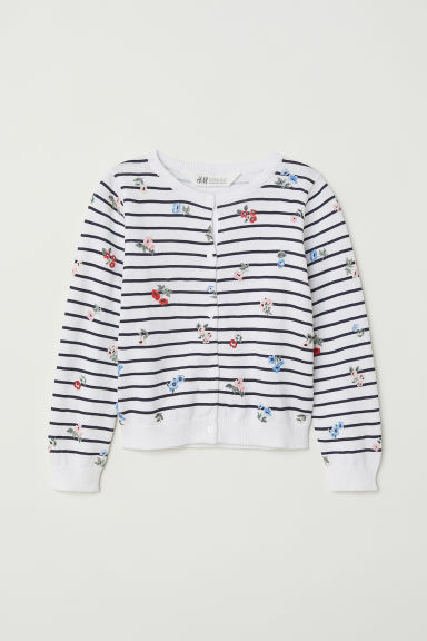 Cotton cardigan - White/Floral - Kids | H&M
