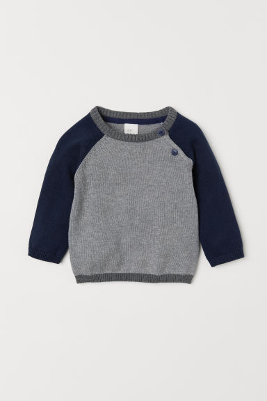 Fine-knit cotton jumper - Grey marl/Dark blue - Kids | H&M