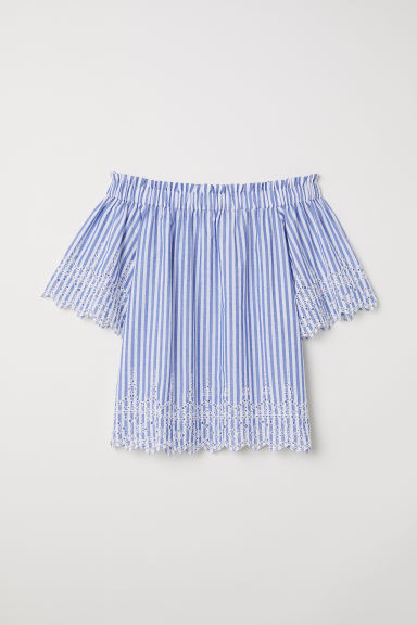 Cotton blouse with embroidery - Light blue/Striped -  | H&M CN