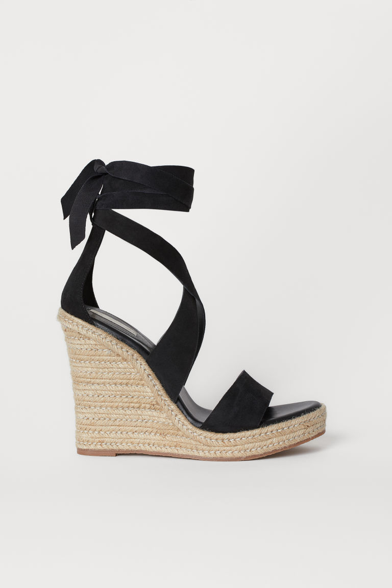 Suede wedge-heel sandals - Black - Ladies | H&M