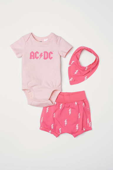 3-piece jersey set - Light pink/AC/DC - Kids | H&M CN