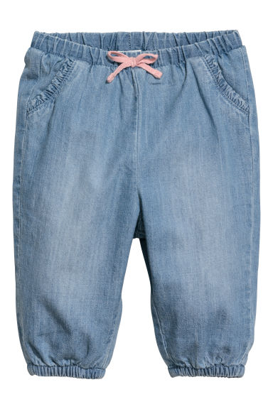 Pantaloni pull-on in denim - Blu denim chiaro -  | H&M CH
