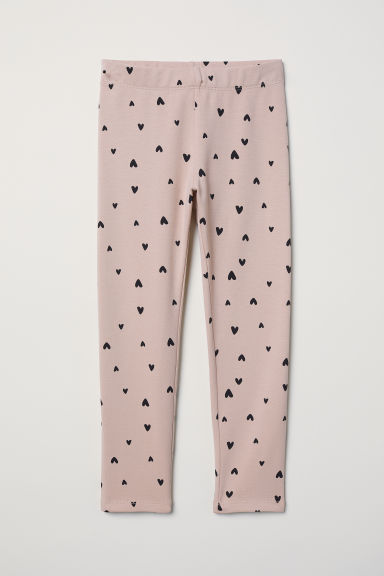 Sturdy jersey leggings - Powder pink/Hearts - Kids | H&M CN