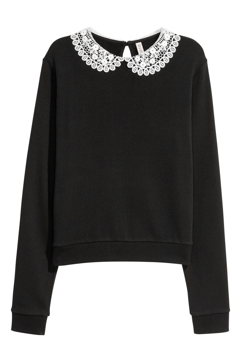 Lace-collared sweatshirt - Black -  | H&M