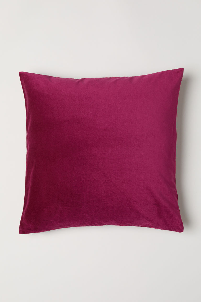 Cotton velvet cushion cover - Dark pink - Home All | H&M GB