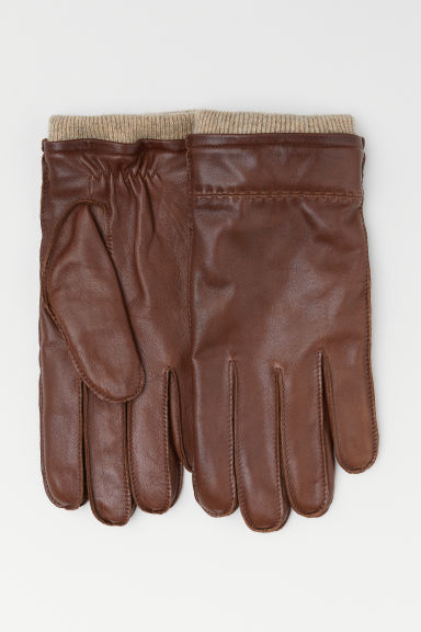 Leather gloves - Dark cognac brown -  | H&M