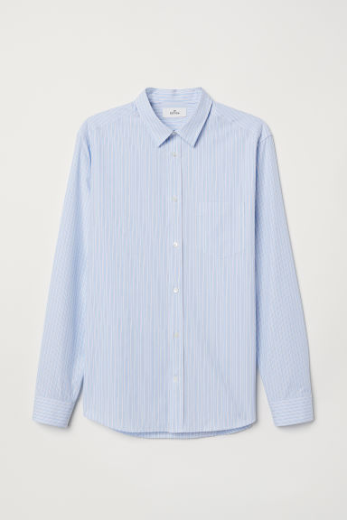 Poplin shirt - Light blue/Striped - Men | H&M CN