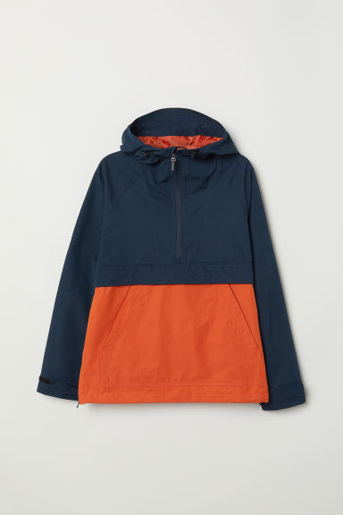 Cotton-blend popover jacket - Orange/Dark blue - Men | H&M