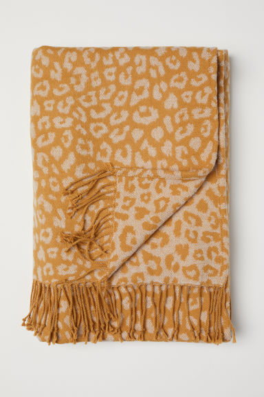 Jacquard-weave blanket - Yellow/Leopard print - Home All | H&M IE