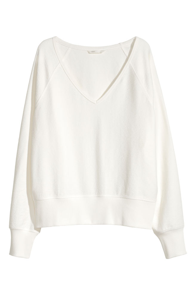 817cb63bc13b4a V-neck Sweatshirt - White - Ladies | H&M ...