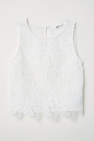 Top in pizzo - Bianco naturale -  | H&M IT