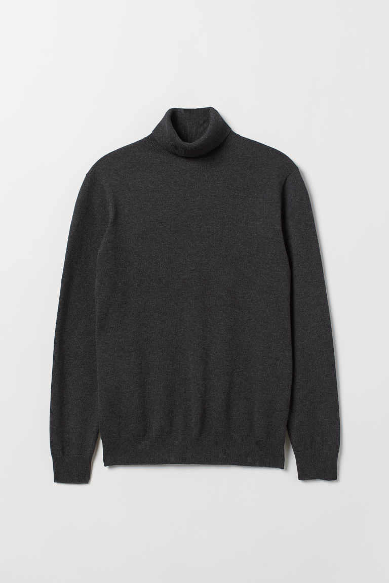Fine-knit polo-neck jumper - Dark grey marl - Men | H&M IE