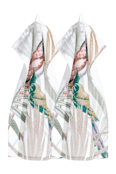 2-pack guest towels - Light green/Patterned -  | H&M CN