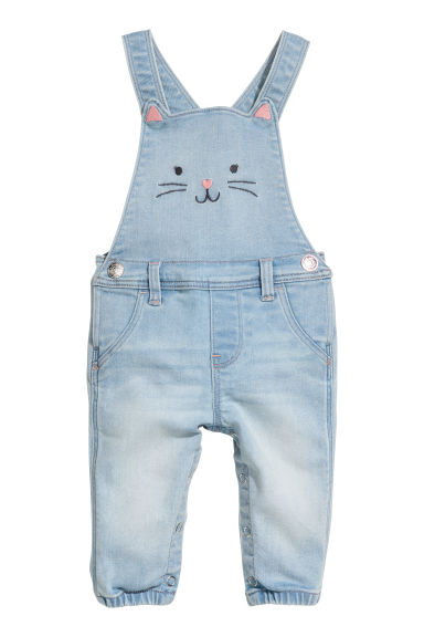 Denim dungarees - Denim blue/Cat - Kids | H&M CN