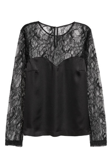 Satin blouse with lace sleeves - Black - Ladies | H&M