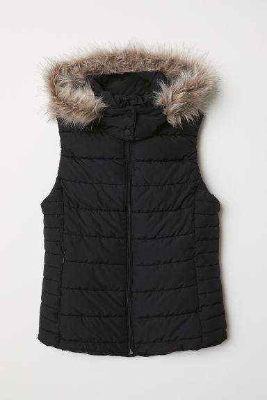 Padded gilet with a hood - Black - Ladies | H&M CN