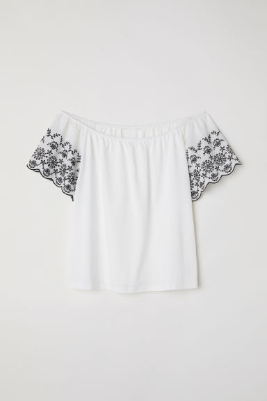 Top met borduursel - Wit - DAMES | H&M BE