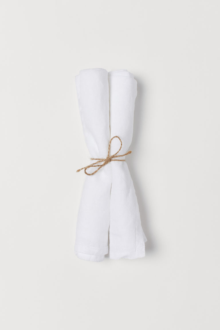 2-pack linen napkins - White -  | H&M GB