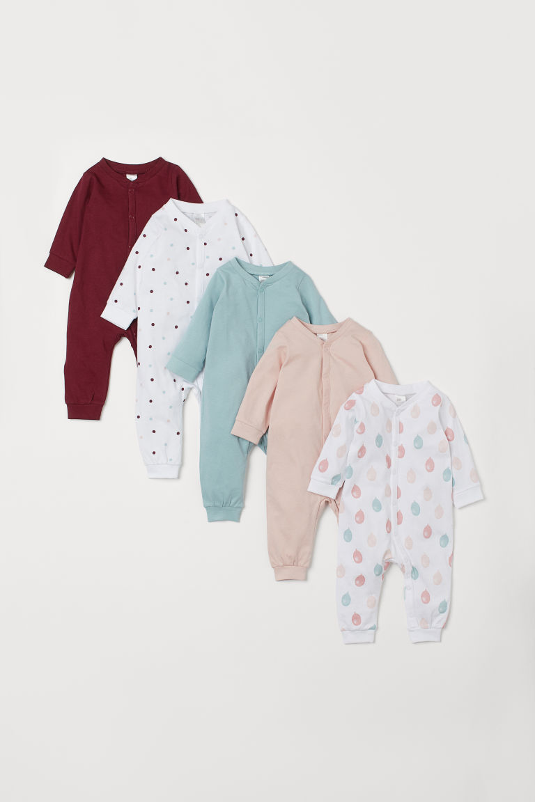 5-pack jersey pyjamas - Light pink/Balloons - Kids | H&M CN