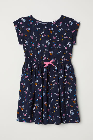 Patterned dress - Dark blue/Floral - Kids | H&M
