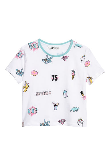 T-shirt met print - Wit/donuts -  | H&M BE