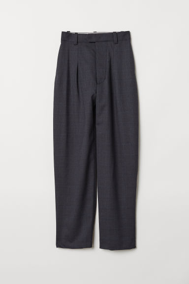 Wide wool trousers - Dark blue/Checked -  | H&M CN