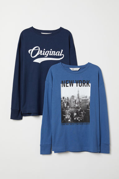 2-pack jersey tops - Dark blue/Blue - Kids | H&M CN