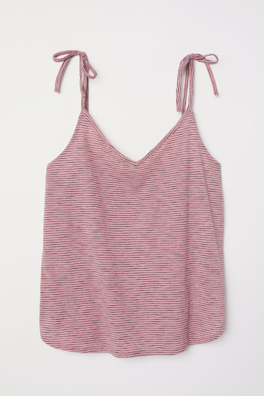 Top con scollo a V - Rosa/nero righe -  | H&M IT