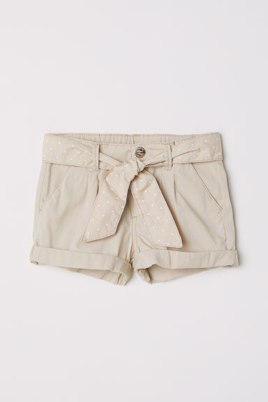 Cotton shorts with a belt - Beige - Kids | H&M