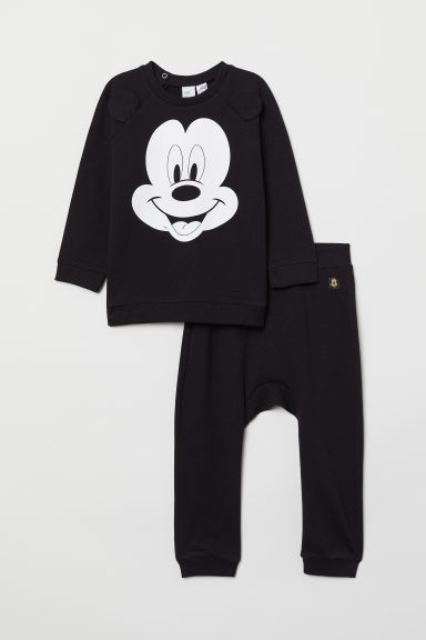 Sweatshirt and joggers - Black/Mickey Mouse - Kids | H&M CN