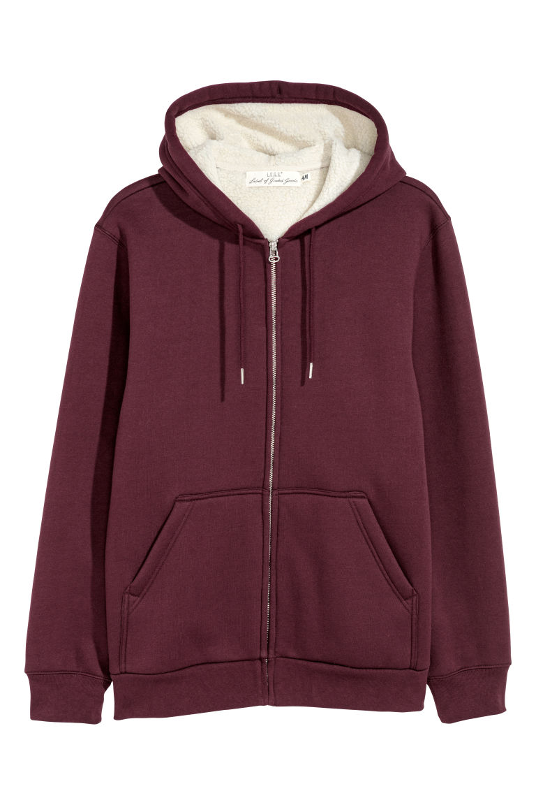 Pile-lined hooded jacket - Burgundy - Men | H&M