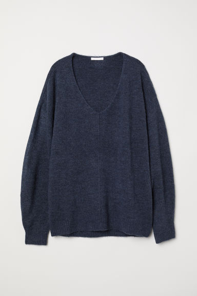 Fine-knit jumper - Dark blue marl - Ladies | H&M CN