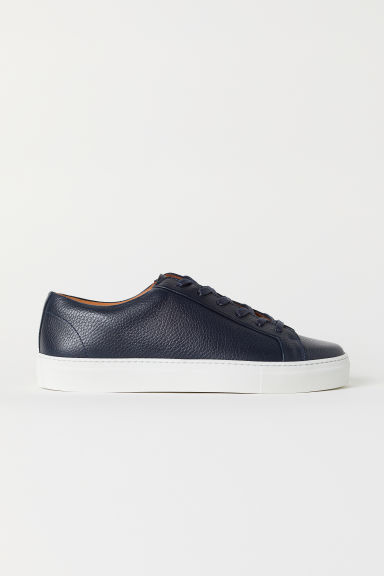 Leather trainers - Dark blue - Men | H&M
