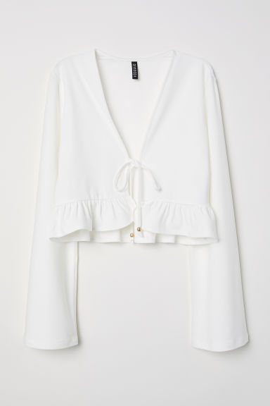 Trumpet-sleeved top - Natural white -  | H&M