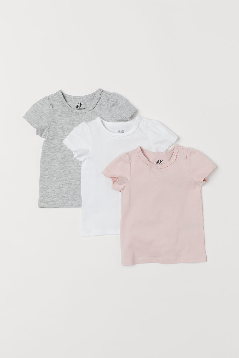 3-pack puff-sleeved tops - Light pink - Kids | H&M GB