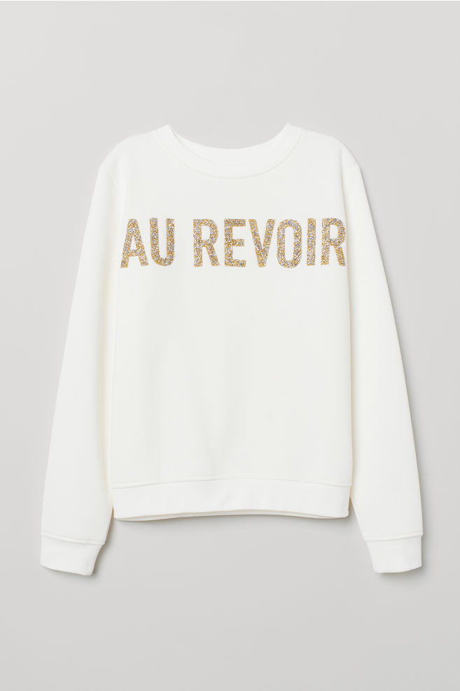 12f93fda5 Sweatshirt with Printed Design - Cream/Au Revoir - Ladies | H&M ...