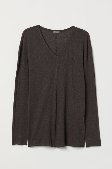 V-neck Jersey Shirt - Dark gray - Men | H&M US