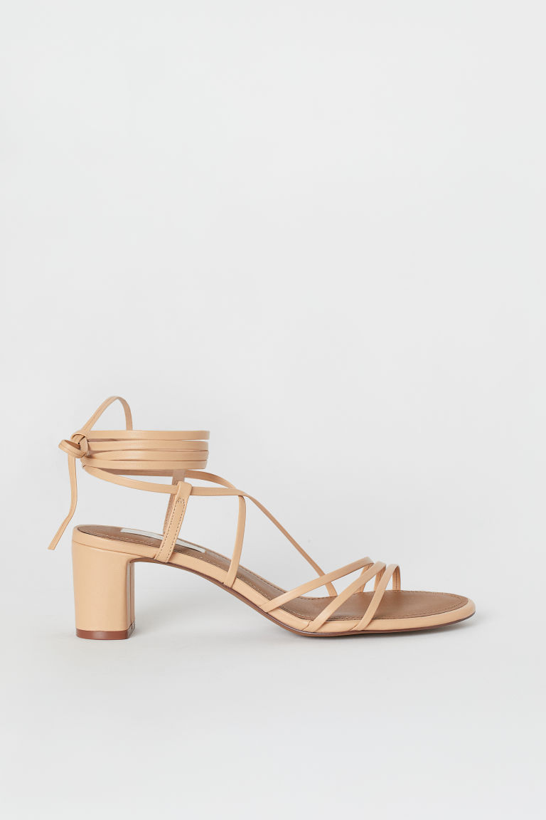 Leather sandals - Beige -  | H&M