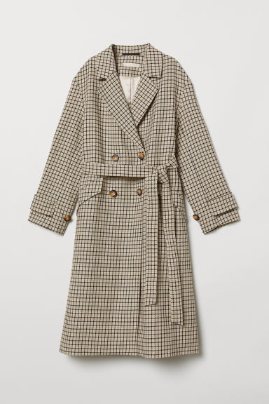 Double-breasted coat - Beige/Checked - Ladies | H&M CN