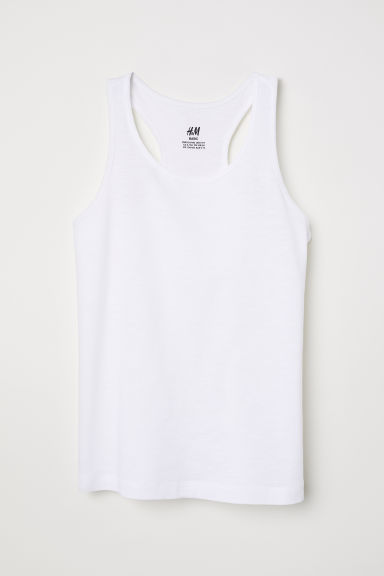 Racer-back jersey vest top - White -  | H&M