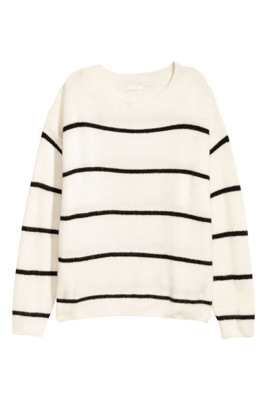 Fine-knit jumper - White/Black striped - Ladies | H&M CN